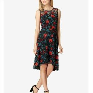 Tahari 18 Black Floral Midi Dress 9BK30